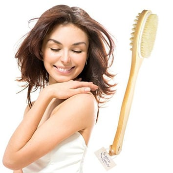 HEALTHY ORIGINAL DRY BODY BRUSH. Dual Head for Skin Brushing + Cellulite Massage. Includes HOW-TO GUIDE. Ancient Art for Circulation & Beauty. Natural Bristles and Long Handle.