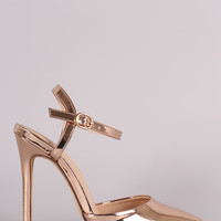 Liliana Mirror Metallic Pointy Toe Ankle Strap Stiletto Pump