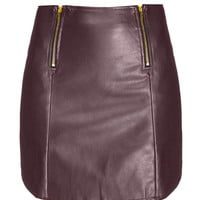 Zip Leather Mini Skirt