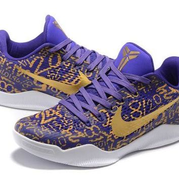 Nike Kobe XI Elite Purple/Gold Basketball Trainers Size US7-12