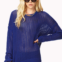 Open-Knit Drop Shoulder Sweater