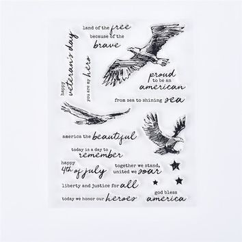 GJCrafts14*18cm Animal Eagle Words Clear Stamps Cutting Dies  for Scrapbooking 2018 Embossing Stamps Stencils Metal Dies Cuts