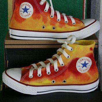 ONETOW youth sz 2 hand dyed fire converse hi top sneakers