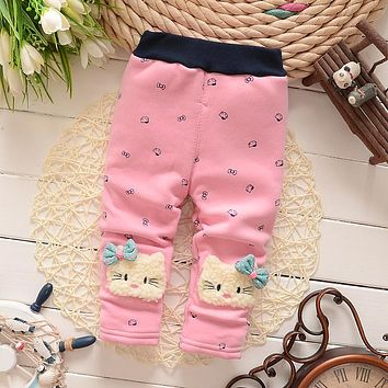 BibiCola Baby Girls cartoon leggings pants infant winter warm dot plus velvet thick leggings pants toddler kids girls trousers
