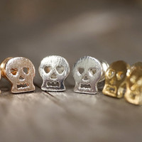 Rose gold, Gold & Silver plated tiny skull stud earrings (EA00023)