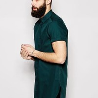 ASOS | ASOS Shirt In Super Longline With Short Sleeves at ASOS
