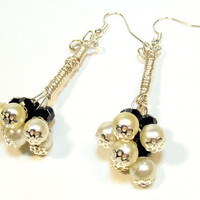 Cluster Earrings - White Pearl Black Swarovski Crystal