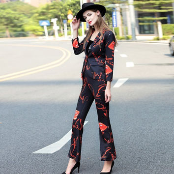 2017 Fashion Spring Women's Suits Peach Heart Pattern One Buttom Blazers + Ultra Long Flare Pants Elegant Ladies Pants Suits