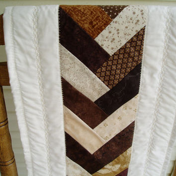 Quilted Braided Design table runner in chocolate and cream colors