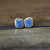 Micro Cushion Cut Studs - Cobalt