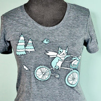 Bicycle shirt bicycle tshirt bicycle t-shirt - women bike shirt bike tshirt vintage grey t shirt women