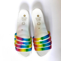 Rainbow Chunky Jelly Slide Sandals, vegan