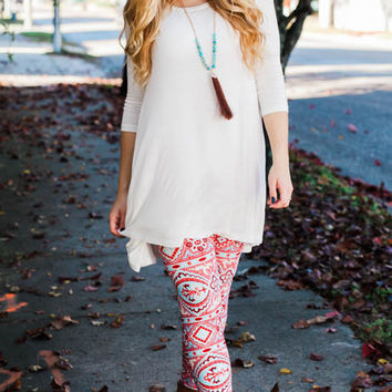Red and Blue Tribal Printed Leggings