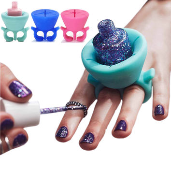 1pc three colors ring style Silicone Wearable Nail Polish Holder nail art tools for Tweexy gel nail Polish Holder