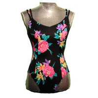 Vintage Floral Swim Suit - Women's One Piece with Double Straps Size 11/12 Vibrant Colors