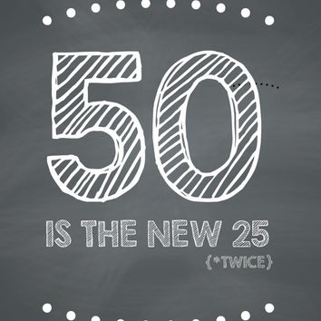 FUNNY 50th Birthday Card - 50 Is The New 25 (Twice)