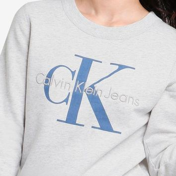 ESBONN Calvin Klein Embroidery Logo Casual Long Sleeve Sport Top Sweater Pullover Sweatshirt