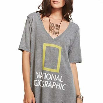Chaser LA National Geographic Deep V Boyfriend Tee in Streaky Grey