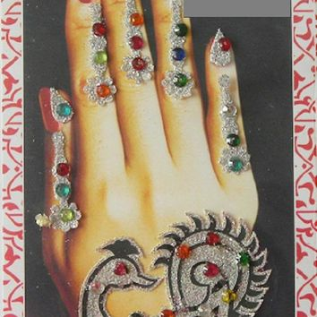 Hand Art,Multicolor stone silver glitter hand tattoo,Temporary wedding decoration,Peacock design,Women hand jewelry,Indian Bridesmaid gifts