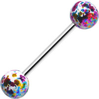 316L Steel Multicolored Enamel Metallic Splash Barbell Tongue Ring | Body Candy Body Jewelry