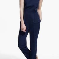 Navy Back Cut Out  Sleeveless Jumpsuit