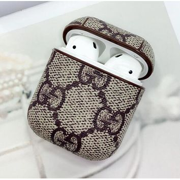 GUCCI Newest Popular Cute Chic iPhone AirPods Bluetooth Wireless Earphone Protector With GG Letter Print Protective Case(No Headphones)