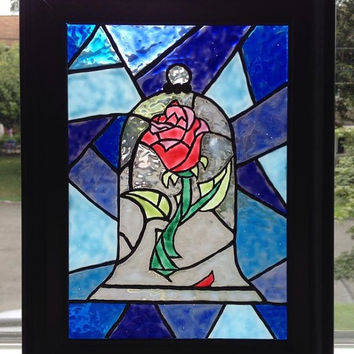 Beauty and the Beast Inspired Rose Painted Glass Suncatcher