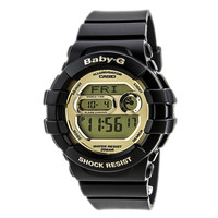 Casio BGD141-1 Women's Baby-G Gold Tone LCD Dial Black Resin Strap World Time Dive Watch