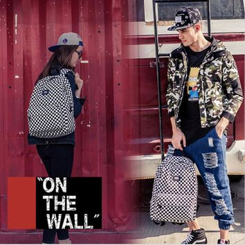 VansFashion Personality printing large capacity backpack bag leisure travel boom Black and white checkerboard 8 style
