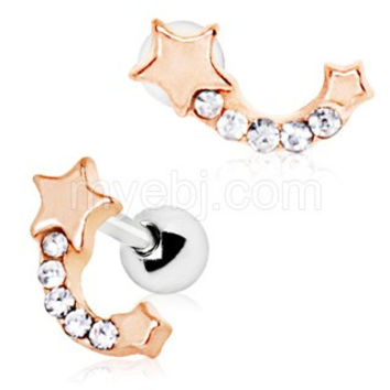 Rose Gold Plated Jeweled Shooting Star Cartilage Earring
