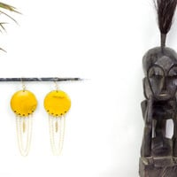 Big round wood, chandelier earrings by See Rue. Brass feather. Handmade yellow wood button earrings. lead and nickel free