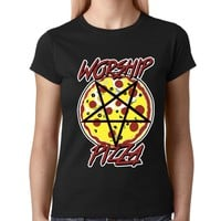 Worship Pizza Pentagram Womens T-shirt