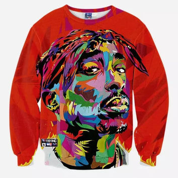 2pac Tribute Crew Neck Sweatshirt Men & Women Tupac Makaveli Harajuku Style All Over Print Red Sweater