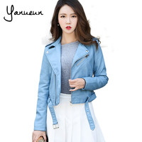 Yanueun Korean Fashion 2017 New Fashion Women Faux Leather Jackets Lady Bomber Motorcycle Cool Outerwear Coat with Belt