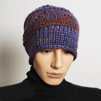 Man's blue knit beanie - Crochet multicolor beanie - Ready to Ship - Rust & purple knit hat - Teen boy hat - Mens winter hat - Mans knit hat