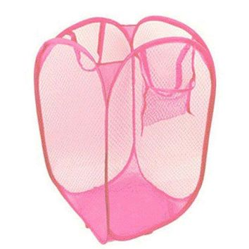 MDIGYN5 2016 New Foldable Pop Up Washing Clothes Laundry Basket Bag Hamper Mesh Storage