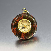 Dragon Blood Agate Antique Watch Fob Compass