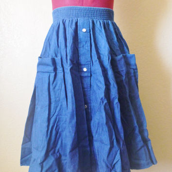 vintage western denim skirt by malco modes, USA. maxi denim skirt. circle skirt. flare skirt. A line denim skirt. jean skirt.