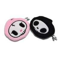 Tokidoki Plush Cotton Lovely Zipper Case Coin Purse Wallet Bag Pink Black