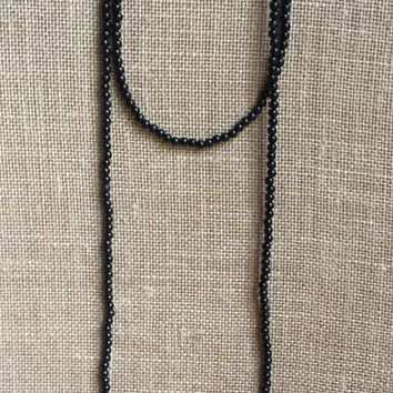 Double wrap black beaded necklace, Bohemian necklace, wrap necklace