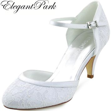 Woman Mid Heel Wedding Shoes White Ivory Round Toe Buckle Lace Lady Bride Bridesmaids Bridal Prom Party Evening Pumps HC1508