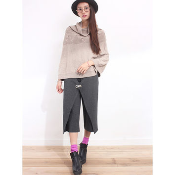 Turtle Neck Big Cable Knit Poncho