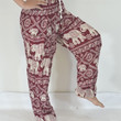 Elephant Yoga Pants Dark Red color/Harem Pants/Elephant Print design/Stretch elastic waist/Meditation pant/Maternity pant/Relax pants.