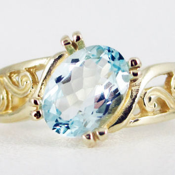 Aquamarine 14k Yellow Gold Oval Filigree Ring, Solid 14k Yellow Gold Ring, 14 Karat Gold Ring, March Birthstone Ring, Aquamarine Oval Ring