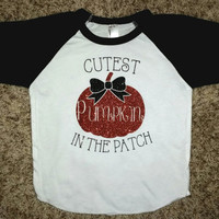 Infant Cutest Pumpkin in the patch Glitter Raglan Baseball 3/4 length shirt, Halloween outfit, Fall outfit, Little pumpkin, Halloween