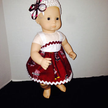 "American Girl Bitty Baby 15"" Baby Doll Dress Baby Doll Clothes Doll Clothes South Carolina Gamecocks By Sweetpeas Bows & More"