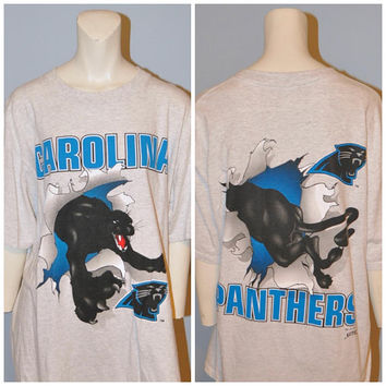 Vintage 1993 Carolina Panthers NFL T-Shirt Size Large Extra Long Tee Shirt North Carolina South Carolina Football Team Tshirt Short Sleeve