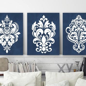 Navy Damask Wall Art, Navy Bedroom Wall Decor, Canvas or Print Watercolor Wall Art, Navy Bathroom Decor, Set of 3 Pictures, Navy Home Decor