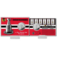 Chicago Blackhawks 6-time Stanley Cup Champions Silver Coin Card