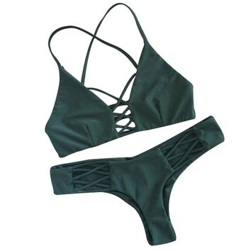 Heal The Summer 2017 New Women Bikinis  Swimwear Swimsuit Set Pad Female Sexy Bathing Suit Green Color Sexy Cross Mujer Maio